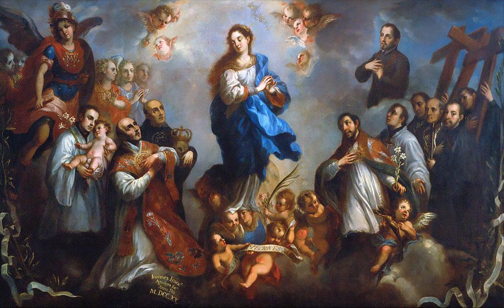 La Inmaculada Concepción con San Ignacio y sus compañeros. (Juan Francisco de Aguilera, 1720)