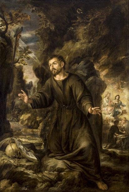 San Ignacio haciendo penitencia en la Cueva de Manresa.